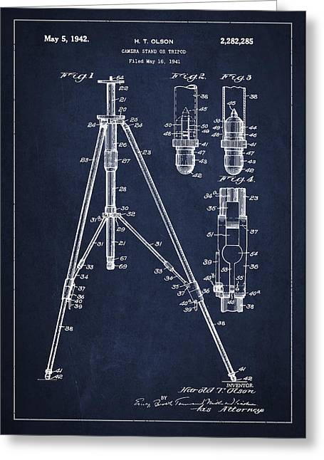 Stood Digital Greeting Cards - Vintage Tripod Patent Drawing from 1941 Greeting Card by Aged Pixel