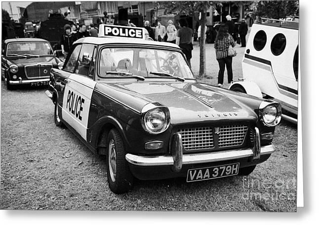 Vintage Triumph Police Car At A Car Rally County Down Northern Ireland Uk Greeting Card by Joe Fox