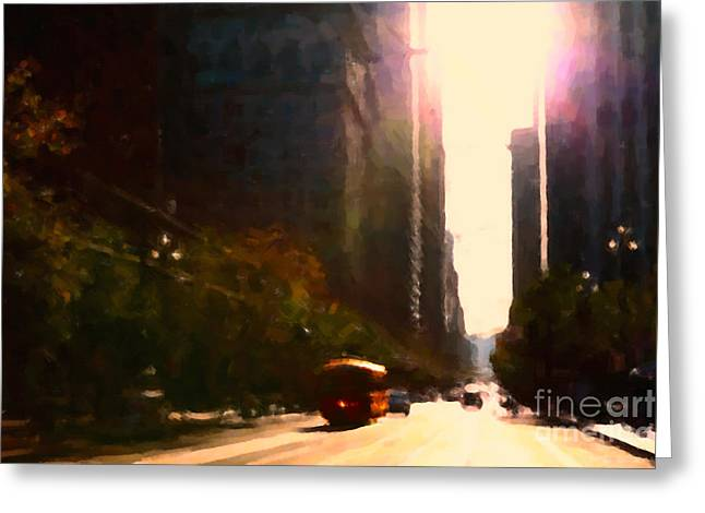 Downtown San Francisco Greeting Cards - Vintage Trolley Car on Market Street - San Francisco - 5D20849 Greeting Card by Wingsdomain Art and Photography