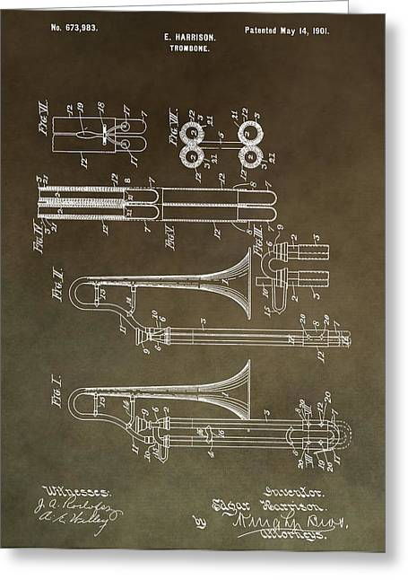 Noise . Sounds Mixed Media Greeting Cards - Vintage Trombone Patent Greeting Card by Dan Sproul