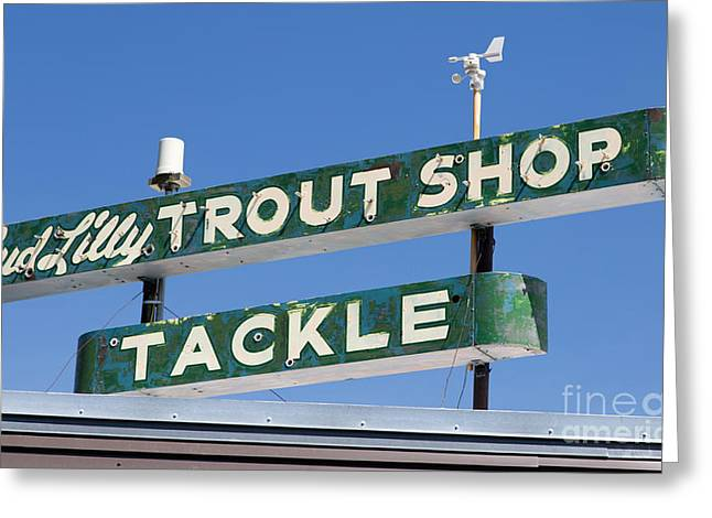 Advertisment Greeting Cards - Vintage Trout Shop Sign West Yellowstone Greeting Card by Edward Fielding