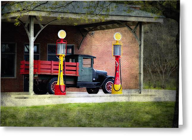 Petrol Green Greeting Cards - Vintage truck and Gas Pumps Greeting Card by Judy Kennamer