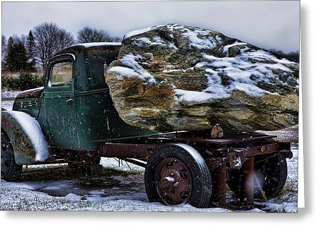 Car Carrier Greeting Cards - Vintage Truck and Rock in Michigan Greeting Card by Evie Carrier