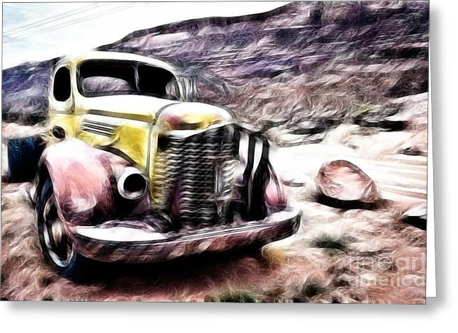 Rusted Cars Digital Art Greeting Cards - Vintage truck Greeting Card by Delphimages Photo Creations