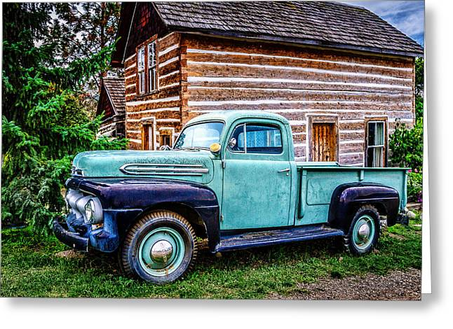 Vintage Log House Greeting Cards - Vintage Truck Greeting Card by Marion McCristall
