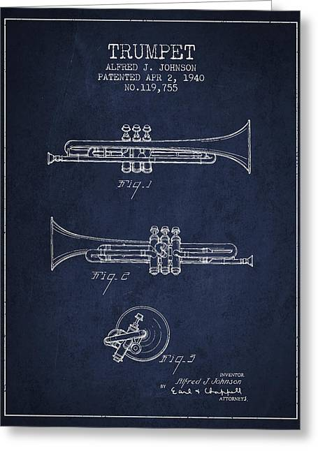Trumpet Greeting Cards - Vintage Trumpet Patent from 1940 - Blue Greeting Card by Aged Pixel