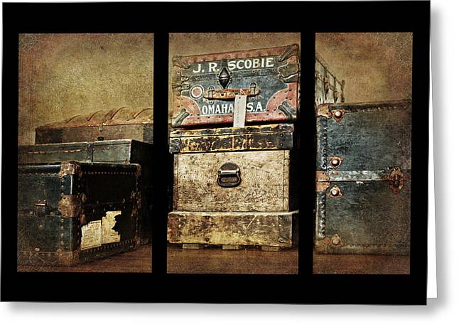 Vintage Trunk Greeting Cards - Vintage Trunks #1 Triptych - Duvet Greeting Card by Nikolyn McDonald