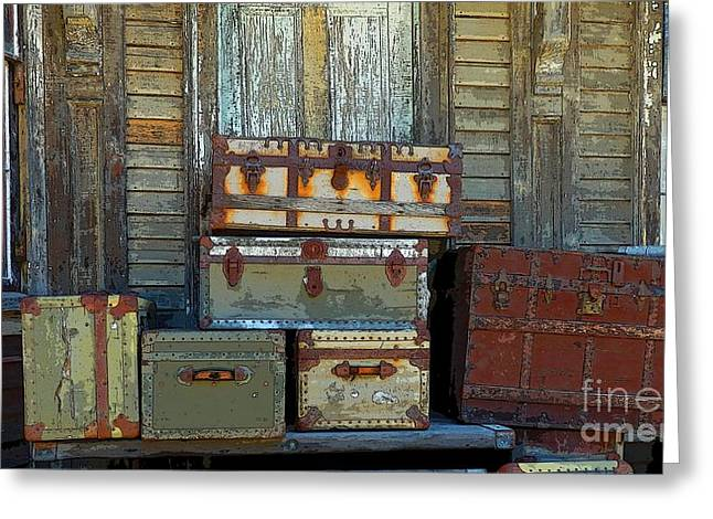 Maine Farms Greeting Cards - Vintage Trunks   sold Greeting Card by Marcia Lee Jones