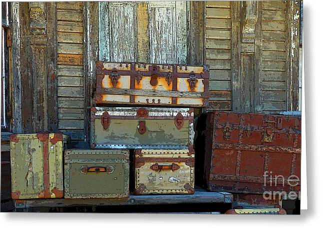Best Sellers -  - Maine Farms Greeting Cards - Vintage Trunks   sold Greeting Card by Marcia Lee Jones
