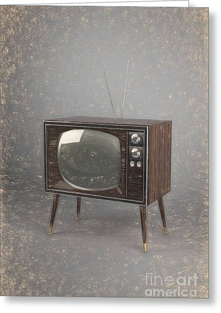 Old Tv Drawings Greeting Cards - Vintage TV Greeting Card by Carsten Reisinger