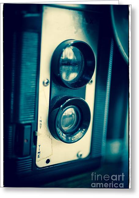 Flash Greeting Cards - Vintage Twin Lens Reflex Camera Greeting Card by Edward Fielding