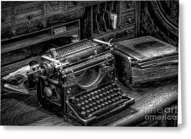 Desk Greeting Cards - Vintage Typewriter Greeting Card by Adrian Evans
