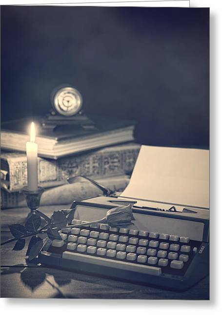 Typewriter Greeting Cards - Vintage Typewriter Greeting Card by Amanda And Christopher Elwell