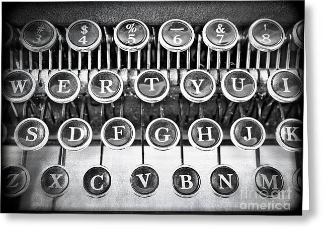 Typing Greeting Cards - Vintage Typewriter Greeting Card by Edward Fielding