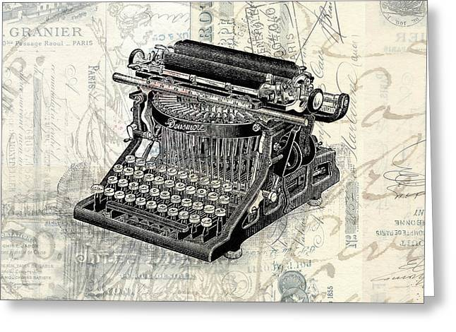 Typewriter Greeting Cards - Vintage Typewriter French Letters Square Format Greeting Card by Edward Fielding