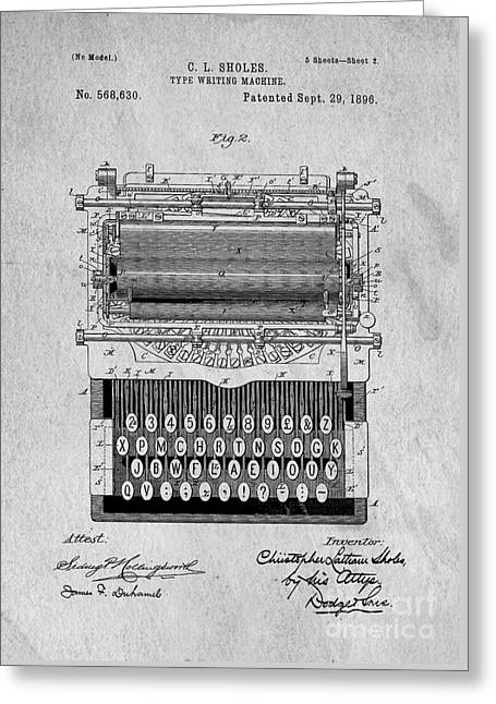 Typewriter Greeting Cards - Vintage Typewriter Patent Art 1896 Greeting Card by Edward Fielding