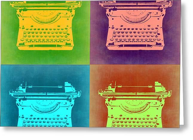 Writer Greeting Cards - Vintage Typewriter Pop Art 1 Greeting Card by Naxart Studio