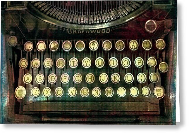 Typewriter Mixed Media Greeting Cards - Vintage Underwood Typewriter Greeting Card by Bellesouth Studio