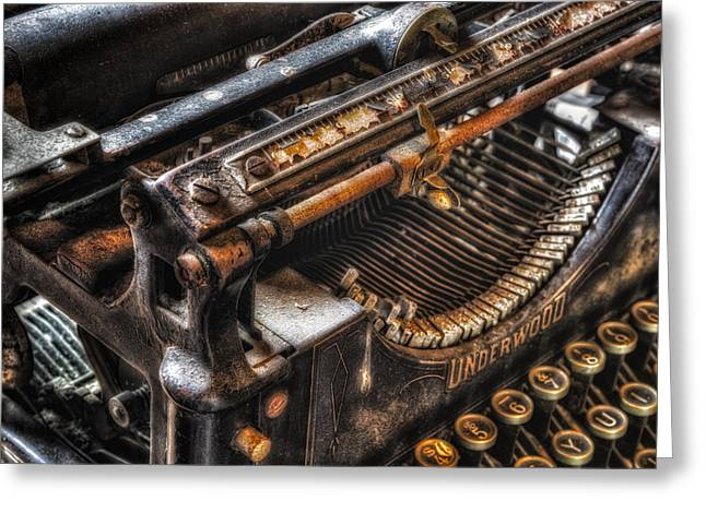 Typewriter Greeting Cards - Vintage Underwood Typewriter Greeting Card by Susan Candelario