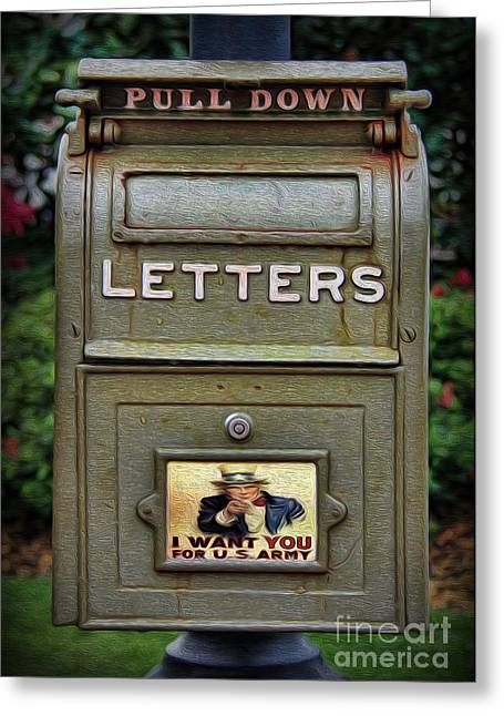 Interior Scene Greeting Cards - Vintage US Mailbox II Greeting Card by Lee Dos Santos