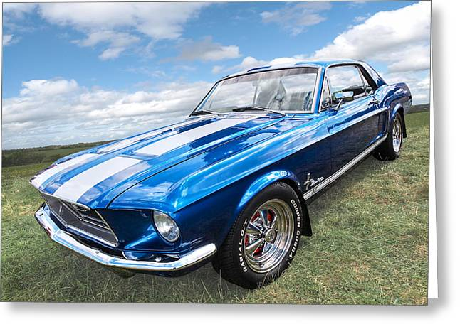 Custom Automobile Greeting Cards - Vintage V8 Blues - Mustang GT Greeting Card by Gill Billington
