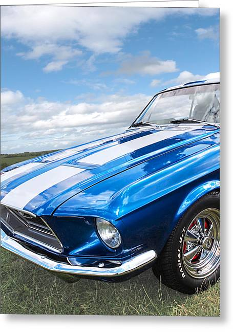 Custom Automobile Greeting Cards - Vintage V8 Blues - Mustang V8 - Square Greeting Card by Gill Billington