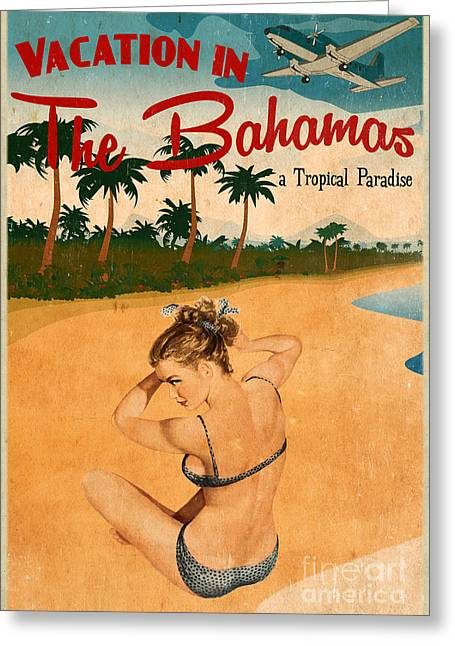 Vintage Pinup Greeting Cards - Vintage Vacation Ad Greeting Card by Cinema Photography