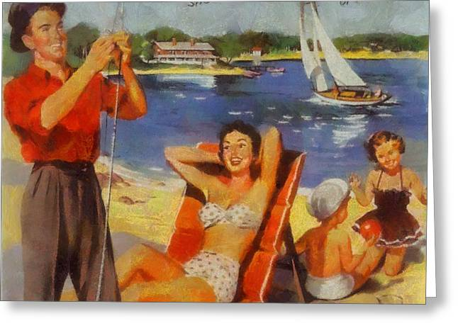 Travel Agency Greeting Cards - Vintage Vacation Poster Greeting Card by Dan Sproul