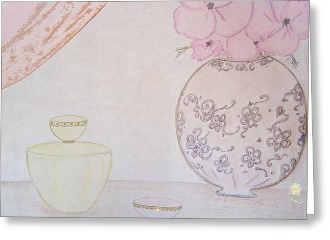 Vase Of Flowers Pastels Greeting Cards - Vintage Vanity Greeting Card by Christine Corretti