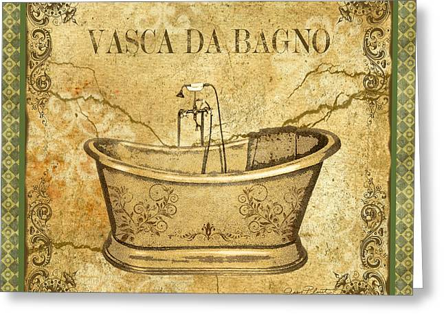 Recently Sold -  - Powder Greeting Cards - Vintage Vasca Da Bagno Greeting Card by Jean Plout