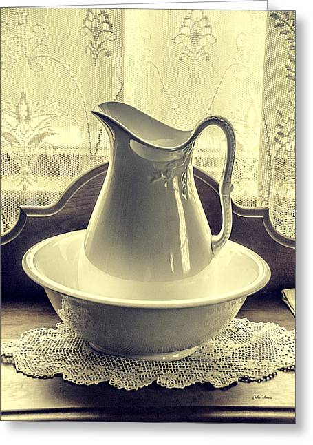 Vintage Vase And Basin Greeting Card by Julie Palencia