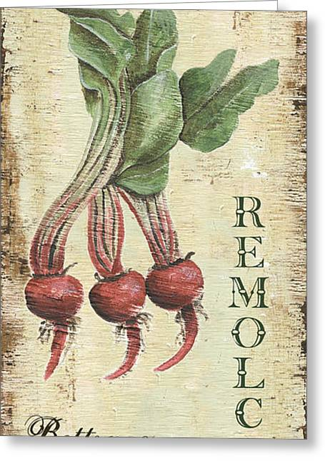 Kitchen Greeting Cards - Vintage Vegetables 3 Greeting Card by Debbie DeWitt