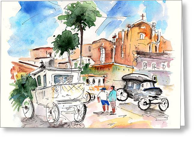 Town Square Drawings Greeting Cards - Vintage Vehicles in Noto Greeting Card by Miki De Goodaboom