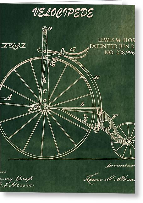 Colorful Photography Drawings Greeting Cards - Vintage Velocipede Patent Greeting Card by Dan Sproul