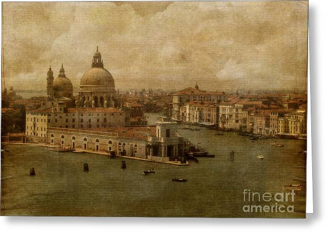 Historic Ship Greeting Cards - Vintage Venice Greeting Card by Lois Bryan