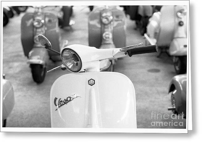 Restored Greeting Cards - Vintage Vespa Greeting Card by Setsiri Silapasuwanchai