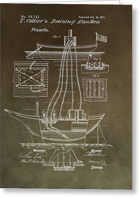 Sailing Ship Mixed Media Greeting Cards - Vintage Vessel Recovery Patent Greeting Card by Dan Sproul