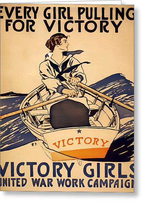 1910s Poster Art Greeting Cards - Vintage Victory Girls World War I Poster 1918 Greeting Card by Mountain Dreams