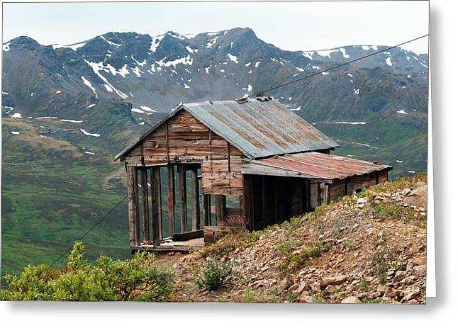 Shack Greeting Cards - Vintage View Alaska Greeting Card by Ron Day