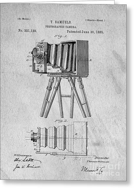 Camera Greeting Cards - Vintage View Camera Patent Art Greeting Card by Edward Fielding