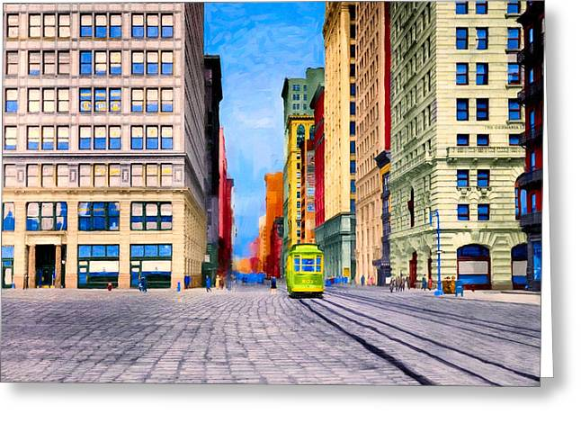 Vintage View Of New York City - Union Square Greeting Card by Mark Tisdale