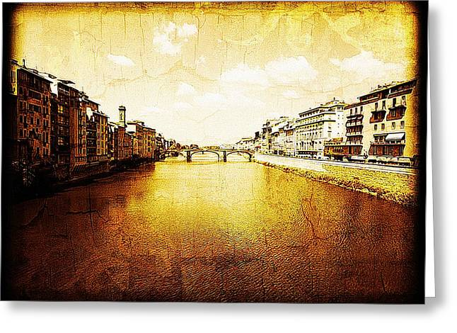 Historical Pictures Greeting Cards - Vintage View of River Arno Greeting Card by Maggie Vlazny