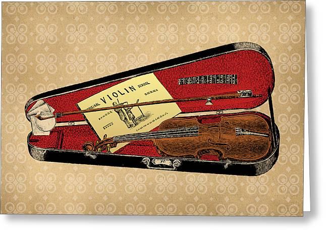 Violin Case Greeting Cards - Vintage Violin Illustration Greeting Card by Flo Karp