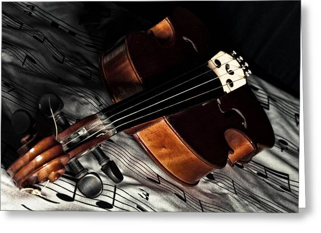 Acoustical Photographs Greeting Cards - Vintage violin Greeting Card by Mike Santis