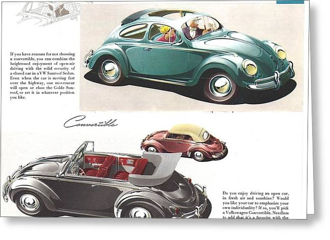 Vw Beetle Greeting Cards - Vintage Volkswagen Advert 1958 Greeting Card by Nomad Art And  Design