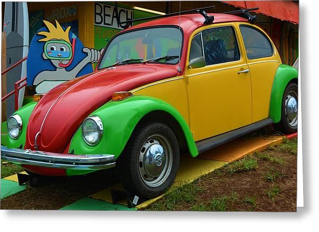 1960 Greeting Cards - Vintage Volkswagen Bug Greeting Card by Richard Jenkins