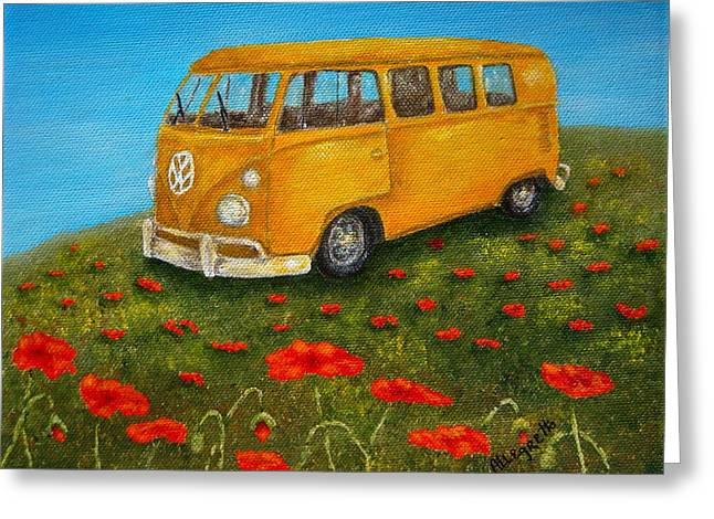 Hippie Volkswagon Greeting Cards - Vintage VW Bus Greeting Card by Pamela Allegretto