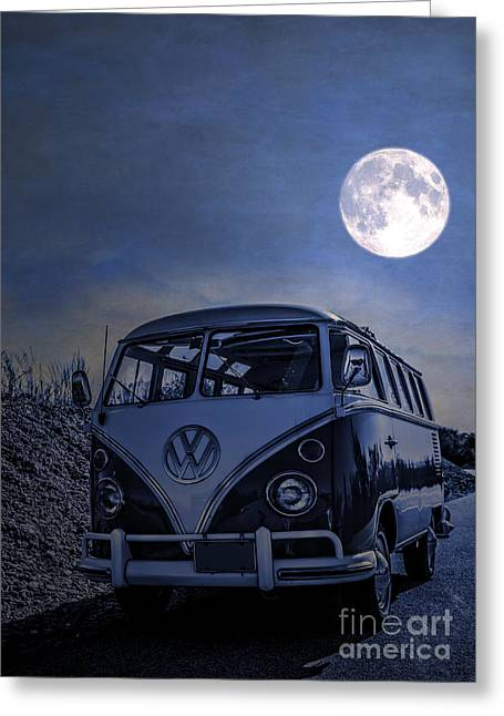 Moon Beach Photographs Greeting Cards - Vintage VW bus parked at the beach under the moonlight Greeting Card by Edward Fielding