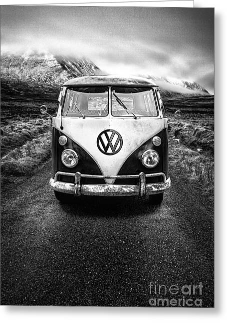 Cold Photographs Greeting Cards - Vintage VW Camper Greeting Card by John Farnan