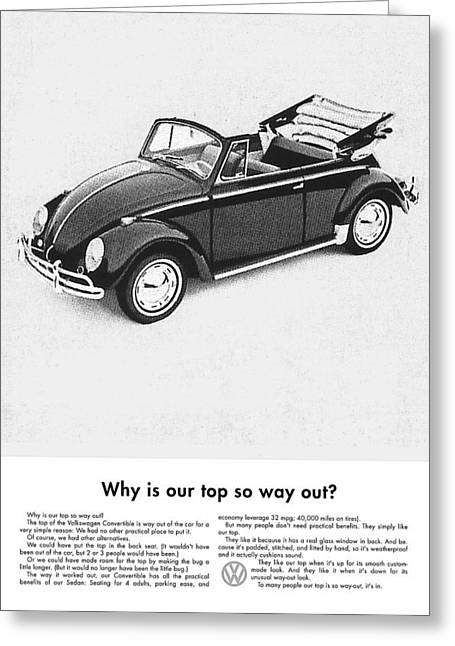 Enjoying Greeting Cards - Vintage VW Convertible Advert Greeting Card by Nomad Art And  Design
